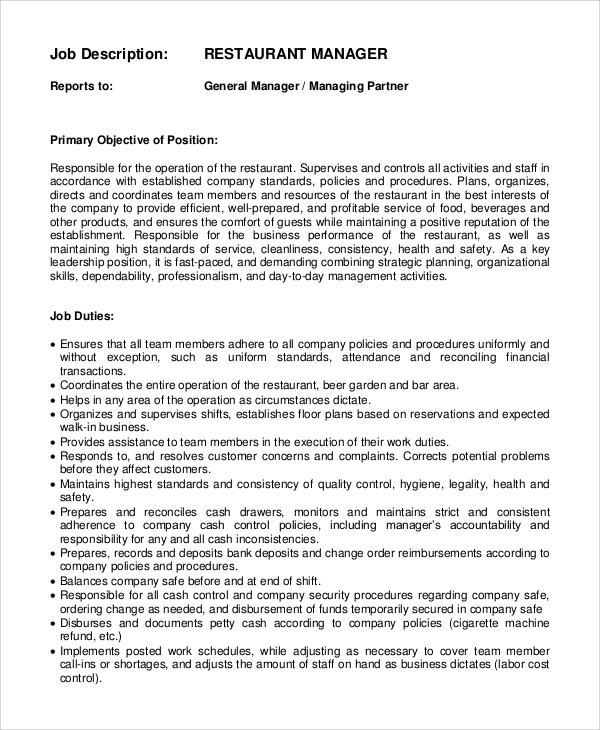 Sample general manager job description 8 examples in for Dining room manager job description