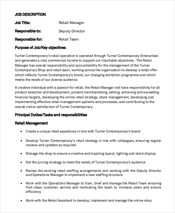 Sample General Manager Job Description 8 Examples in PDF Word – General Manager Job Description