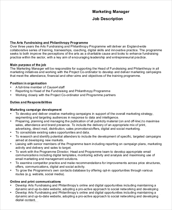 marketing officer job description pdf