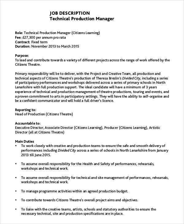 technical production manager job description. Resume Example. Resume CV Cover Letter