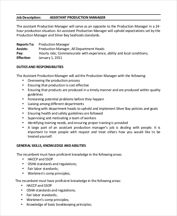 assistant product manager job description