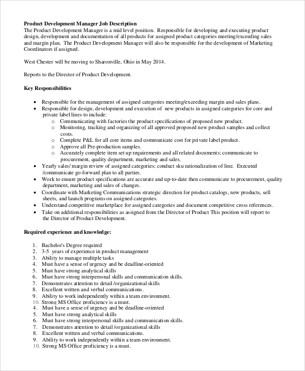 Sample Product Manager Job Description   Examples In Pdf Word