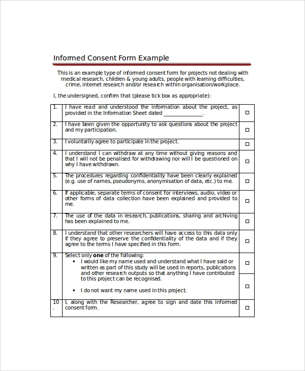 Sample Consent Form 8 Examples in Word PDF – Informed Consent Form