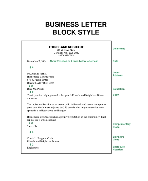 formal busines letter block format - Business Letter Format Template