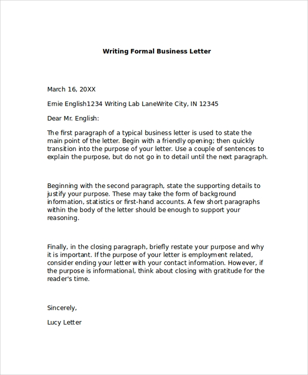 formal business letter examples 8 formal business letter formats sample templates 8766