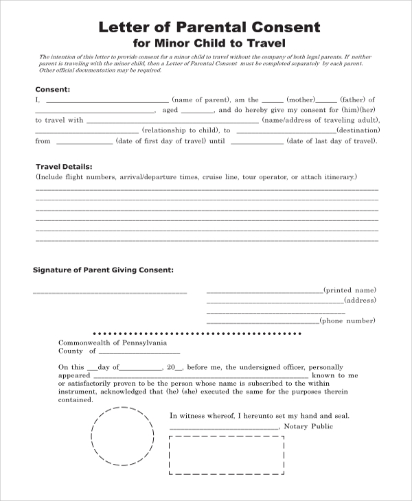 Permission form for child to travel for Free child travel consent form template