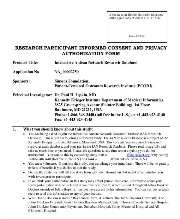 Sample Consent Form 8 Examples in Word PDF – Research Consent Form Template