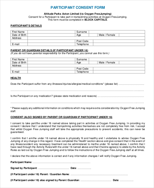 participation waiver template - 8 sample consent forms sample templates