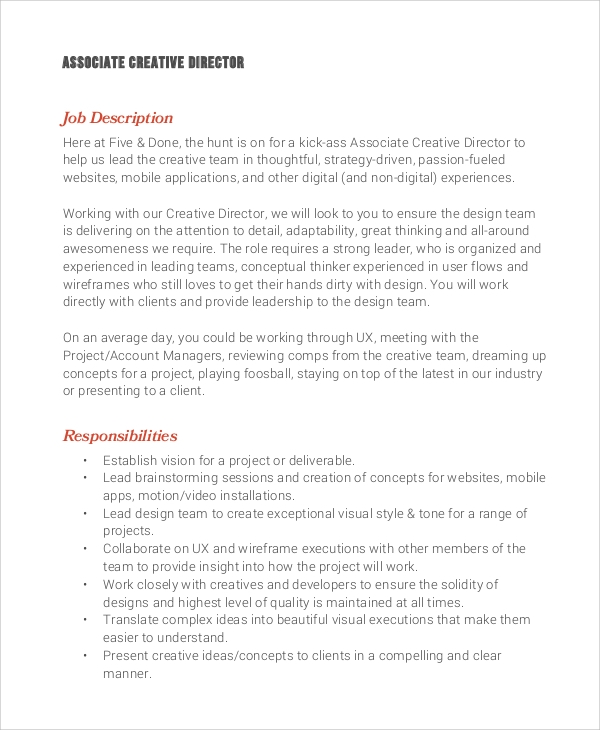 Sample Creative Director Job Description   Examples In Pdf Word
