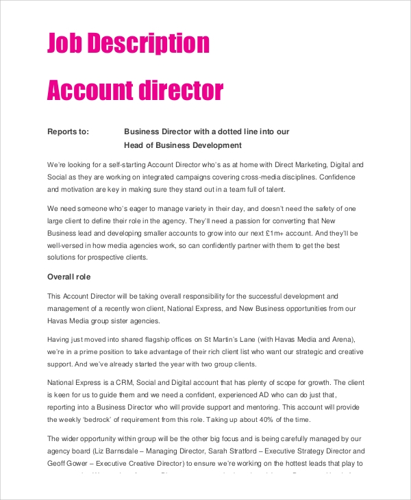 Account Director Job Description
