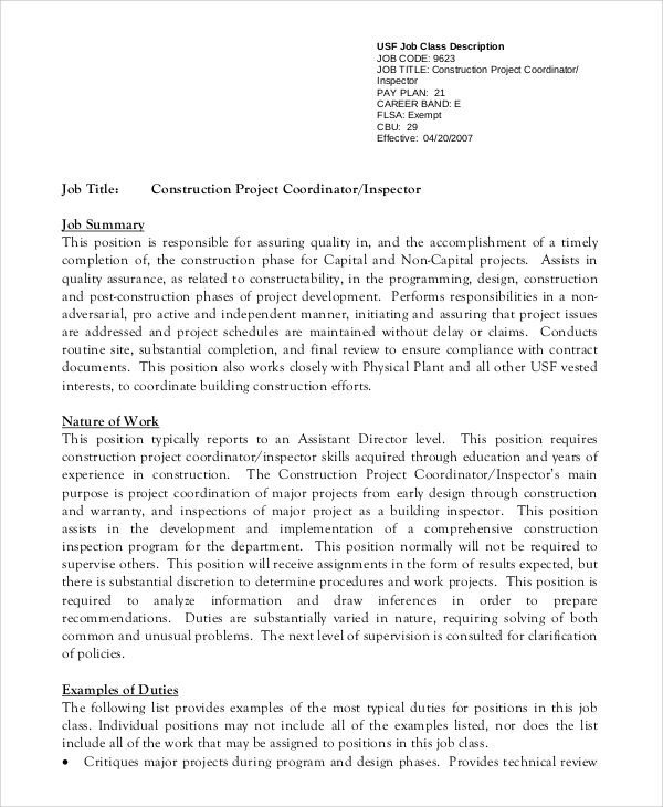 Sample Project Coordinator Job Description 8 Examples in PDF – Coordinator Job Description