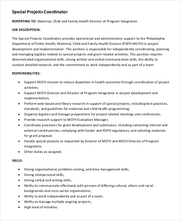 Sample Project Coordinator Job Description   Examples In Pdf