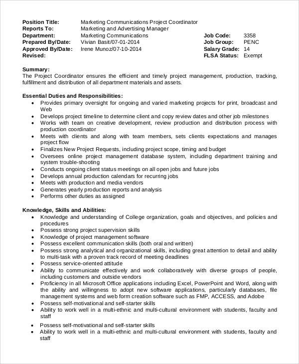 Sample Project Coordinator Job Description - 8+ Examples In Pdf