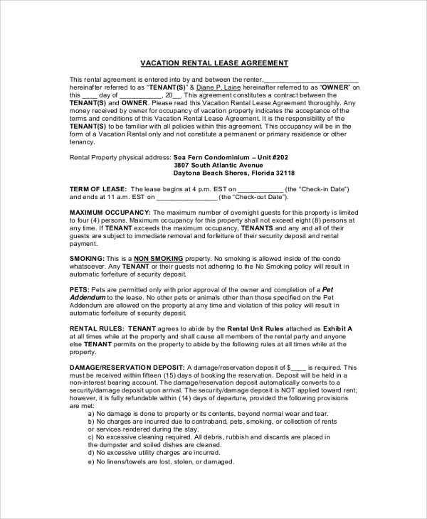 Sample Lease Agreement 9 Examples in PDF Word – Vacation Rental Agreement Example
