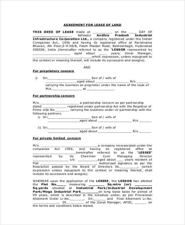 Sample Lease Agreement   Examples In Pdf Word