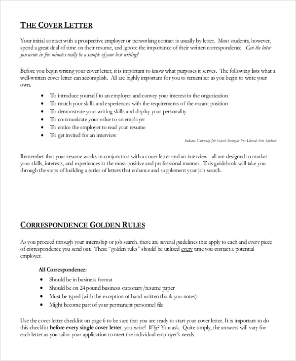 generic cover letter correspondence golden rules - General Cover Letter Format