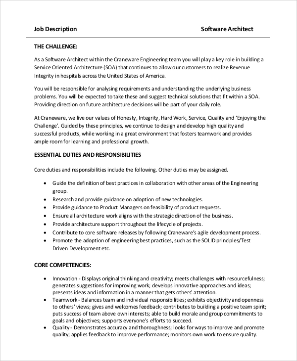 Sample Architect Job Description - 8+ Examples In Pdf