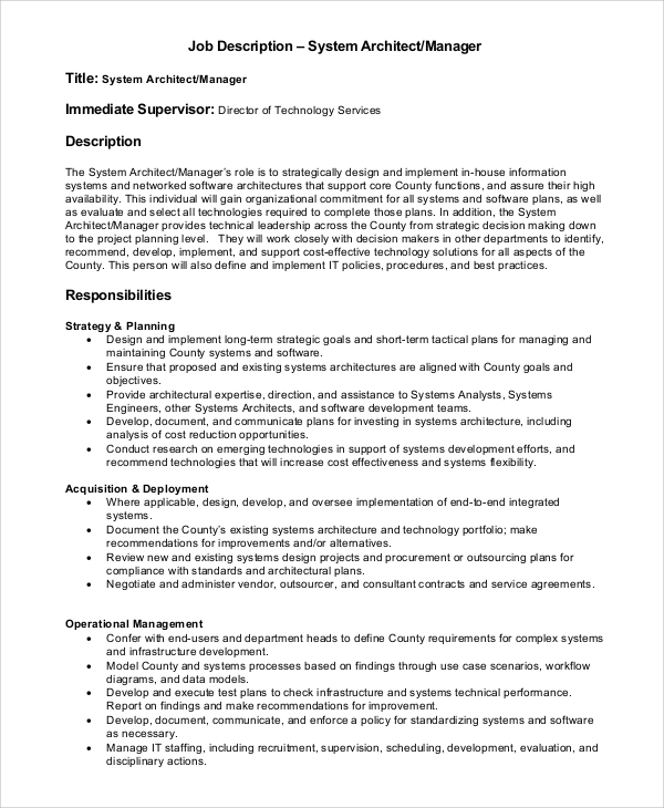 system architect manager job description