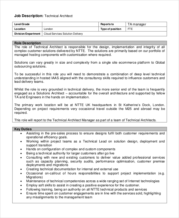 Sample Architect Job Description   Examples In Pdf