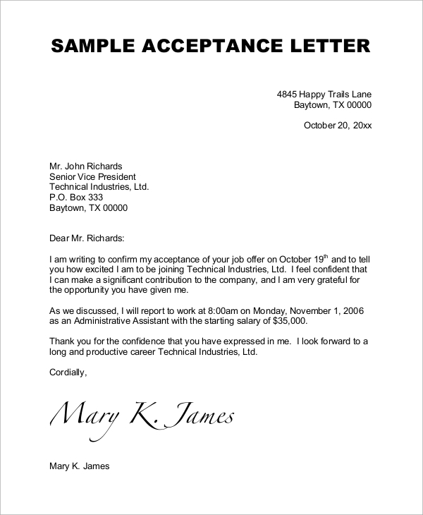 Sample Job Acceptance Letter   Examples In Word Pdf