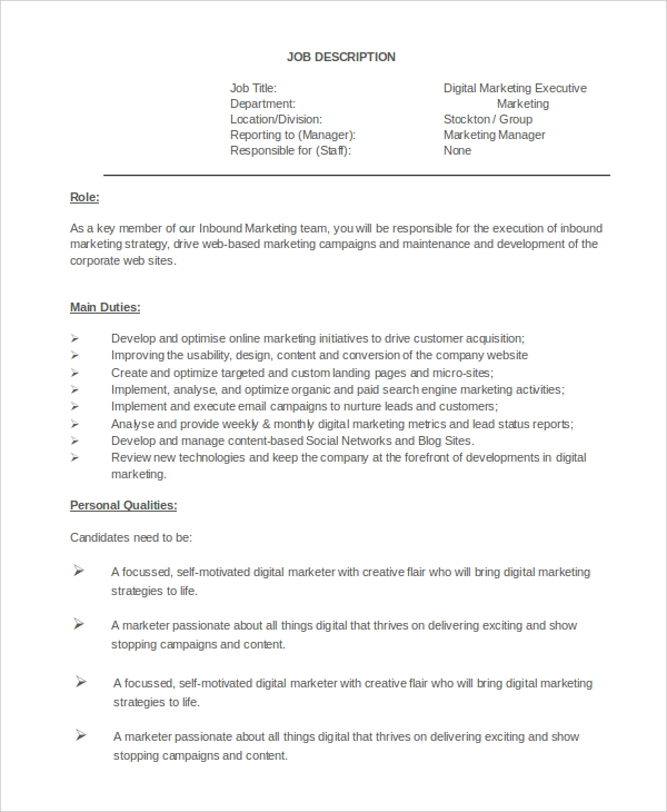 Sample Marketing Job Description 9 Examples in PDF Word – Digital Marketing Job Description