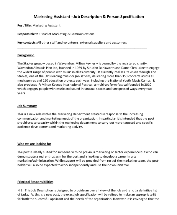 Sample Marketing Job Description 9 Examples in PDF Word – Marketing Assistant Job Description