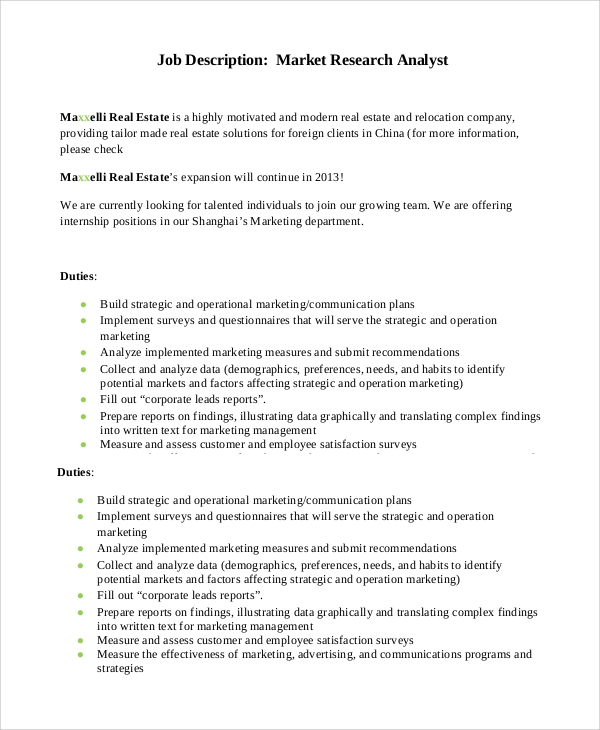 Sample Marketing Job Description - 9+ Examples In Pdf, Word