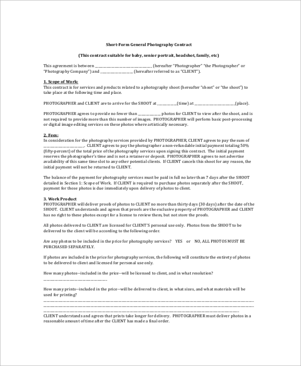 Sample Photography Contract   8+ Examples In Pdf, Word