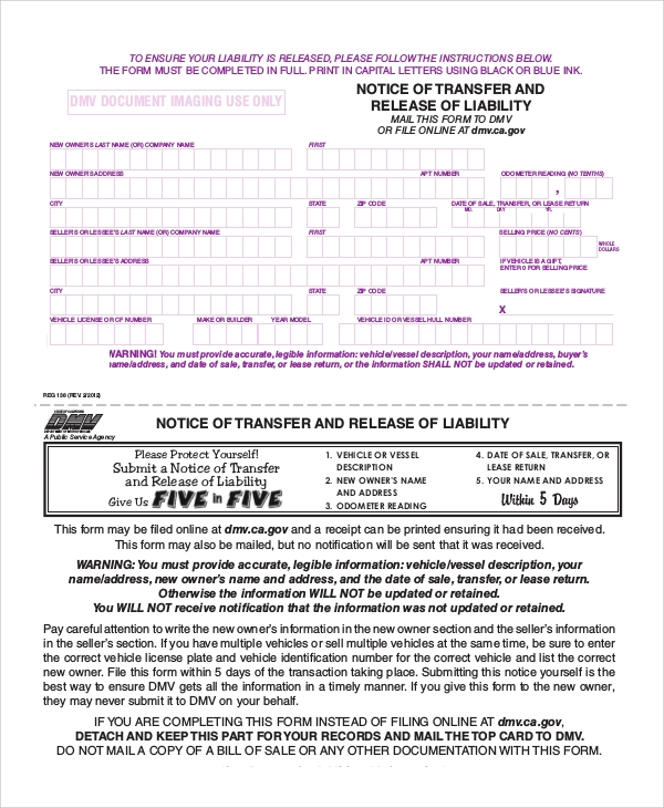 Delightful Dmv Release Of Liability Form California