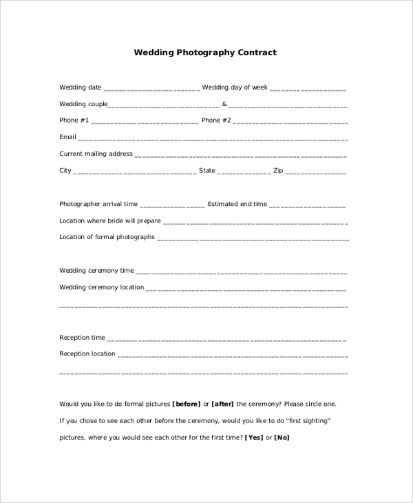 Wedding Photography Contracts Examples: Photography Contract Samples, Examples, Template