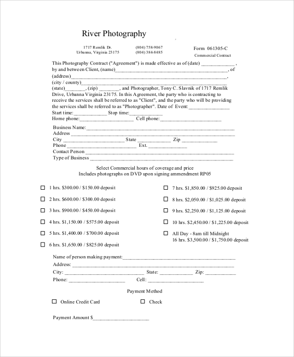 photography contract agreement format
