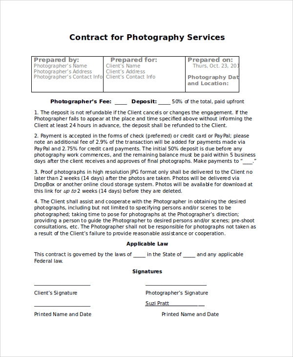 contract for photography services