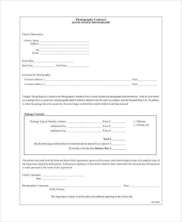 printable photography contract example