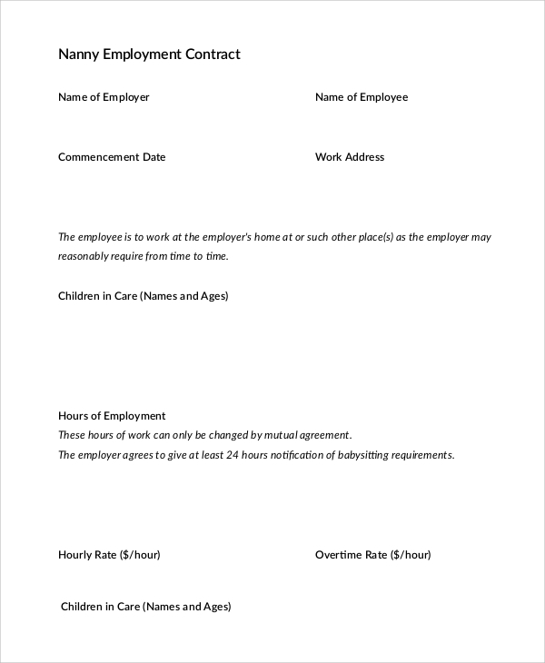 10  nanny contract sample templates