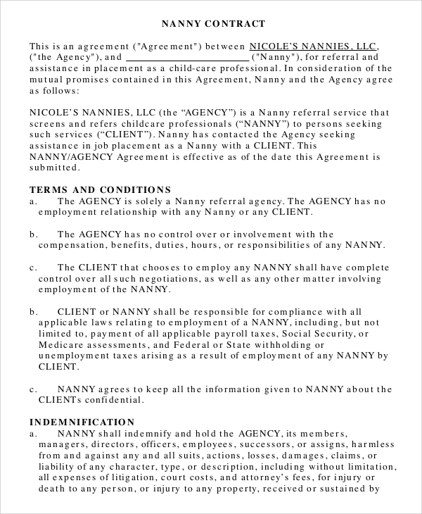 sample nanny contract 8 examples in pdf word