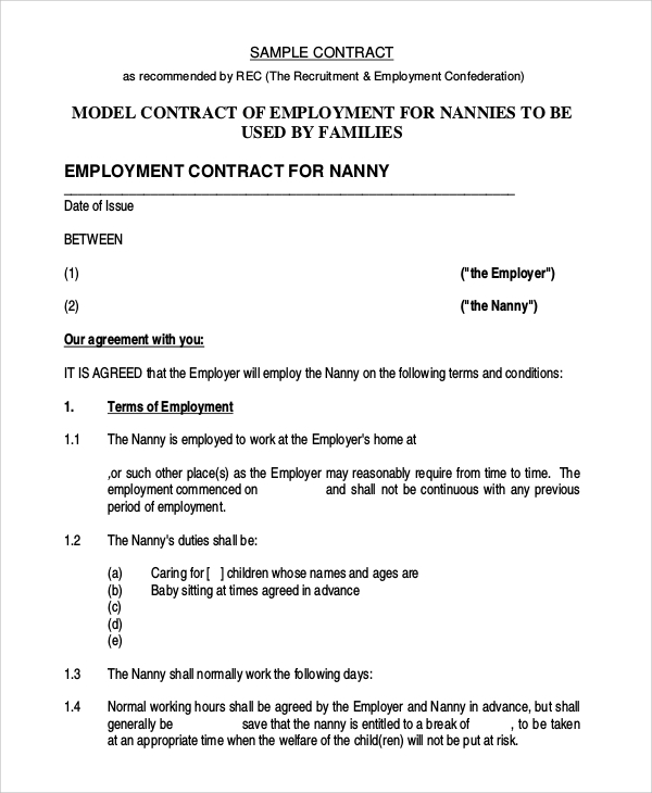 Sample Nanny Contract - 8+ Examples in PDF, Word