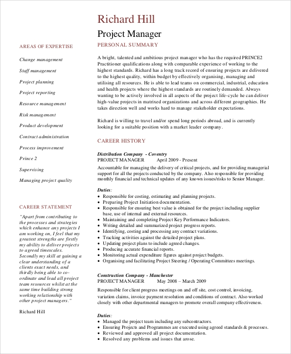 Project Management CV Sample