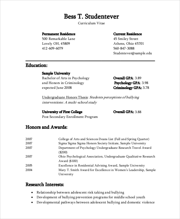 Sample Cv 8 Examples In Word Pdf