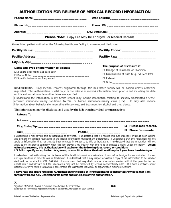 Medical Records Release Authorization  Medical Record Release Form Template