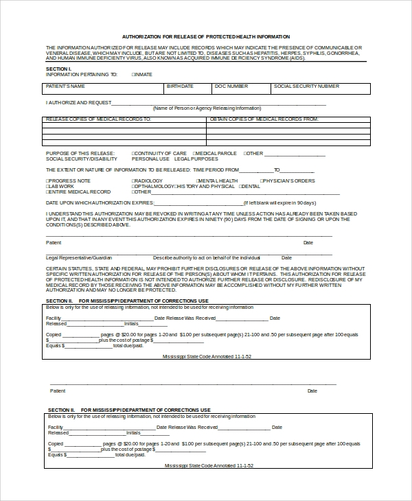 protected medical records release form