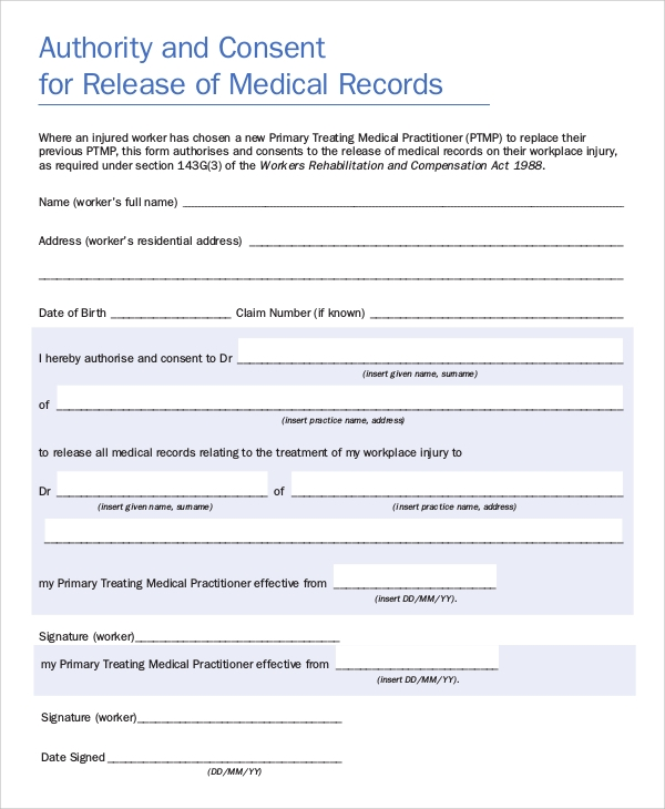 consent to release medical records form