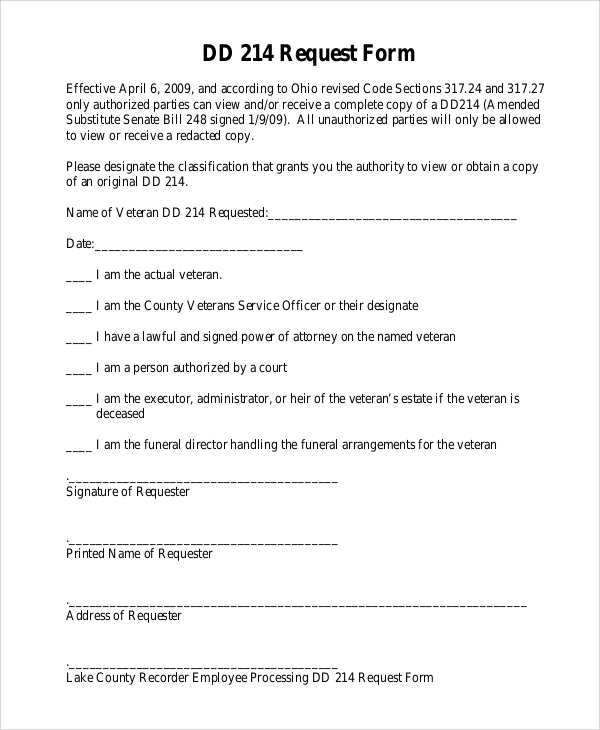 dd 214 request form