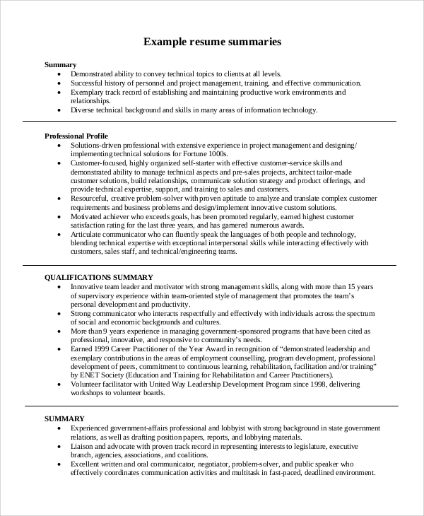 8 summary for resume samples sample templates