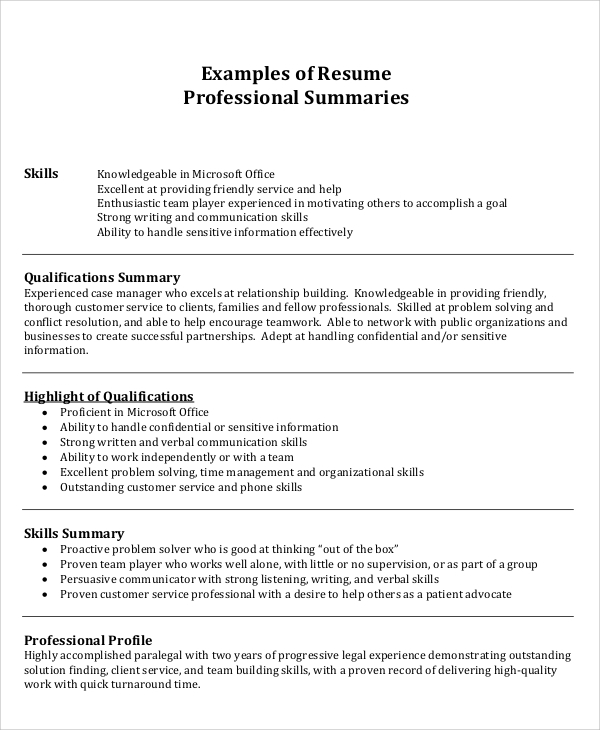 sample summary for resume
