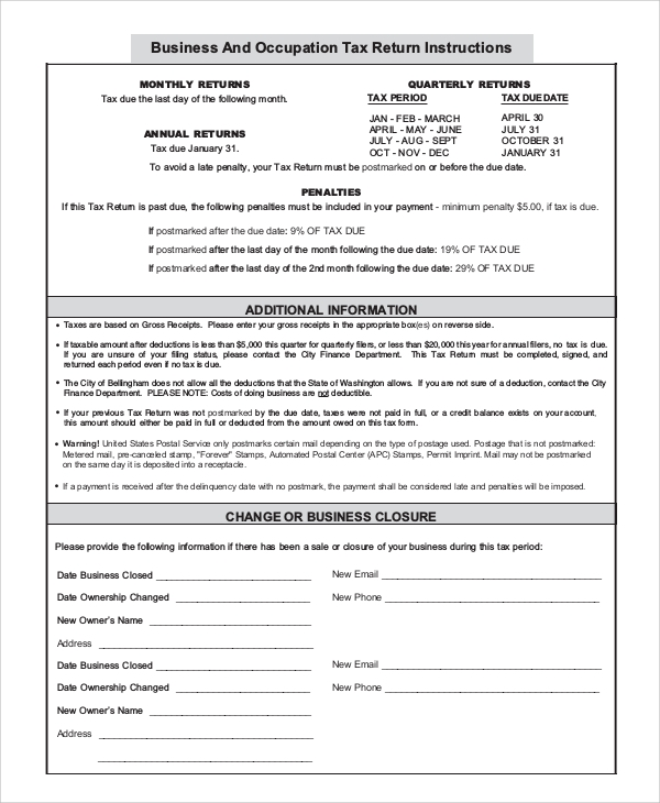sample business form