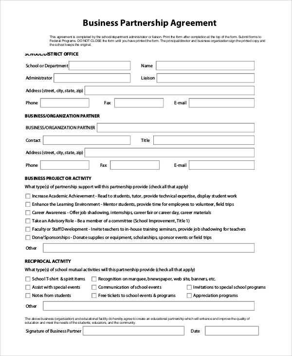 9 sample business forms sample templates for Corporate partnership agreement template
