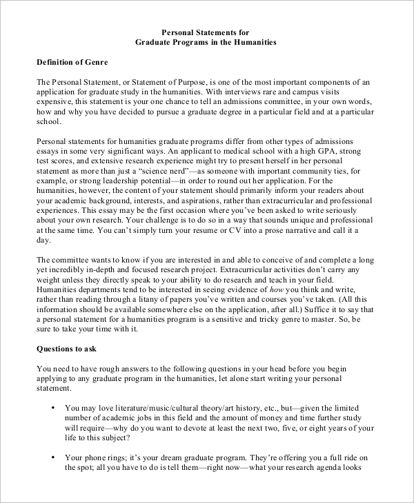 Statement of purpose graduate school sample essays