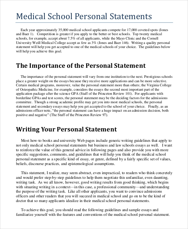 personal statement medical school application Writing a personal statement for medical school the personal statement is a crucial part of any graduate school application however, the medical school personal statement is unique in several ways.