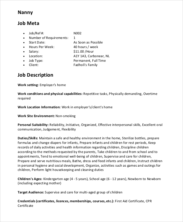Sample Nanny Resume   Examples In Pdf Word