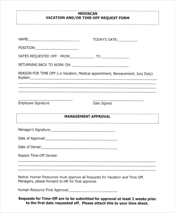 Request Off Template Doc  Leave Request Form Template